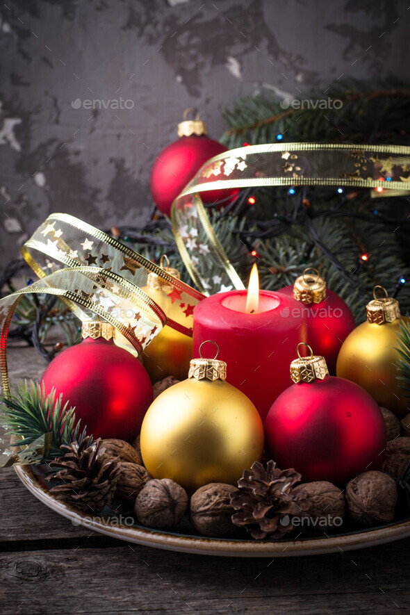 Red And Golden Christmas Balls On Plate Stock Photo By Furmanphoto