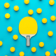 flat lay image of table tennis paddle and many balls central composition - PhotoDune Item for Sale