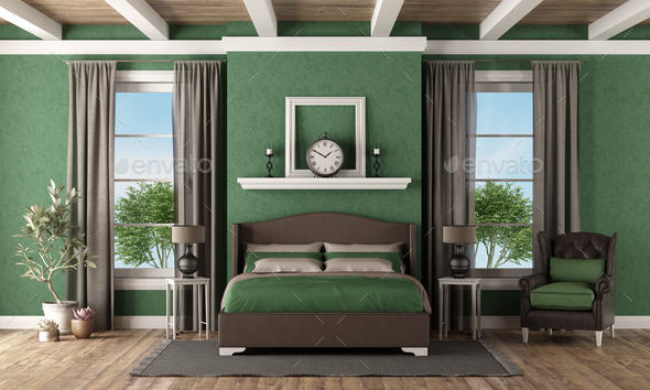 Green and brown master bedroom in classic style-3d rendering