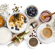 Healthy breakfast set on white background, top view, copy space - PhotoDune Item for Sale