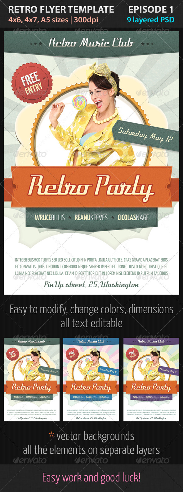 Retro Flyer Template Episode 1 - Clubs & Parties Events
