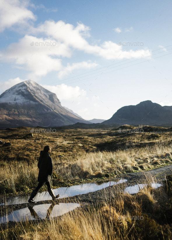 Exploring Glen Etive in Scotland - Stock Photo - Images