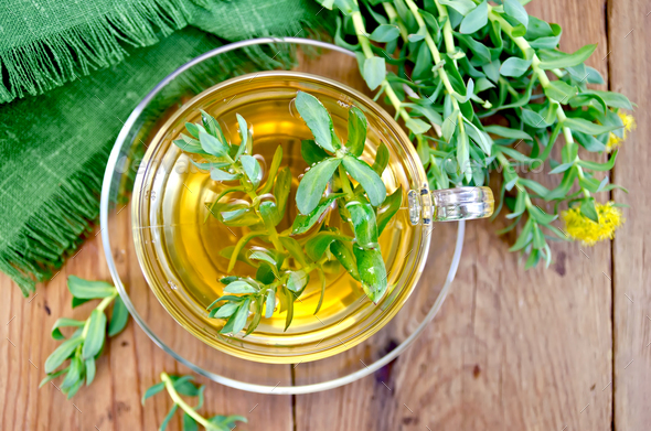 Herbal tea with Rhodiola rosea on the board - Stock Photo - Images