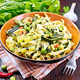 Tagliatelle with green vegetables on towel - PhotoDune Item for Sale