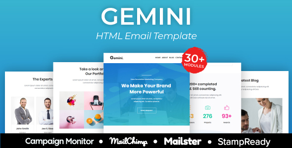 Gemini Agency - Multipurpose Responsive Email Template 30+ Modules -  Mailster & Mailchimp by AumFusion