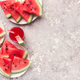Watermelon slices and juice on grey background, top view - PhotoDune Item for Sale