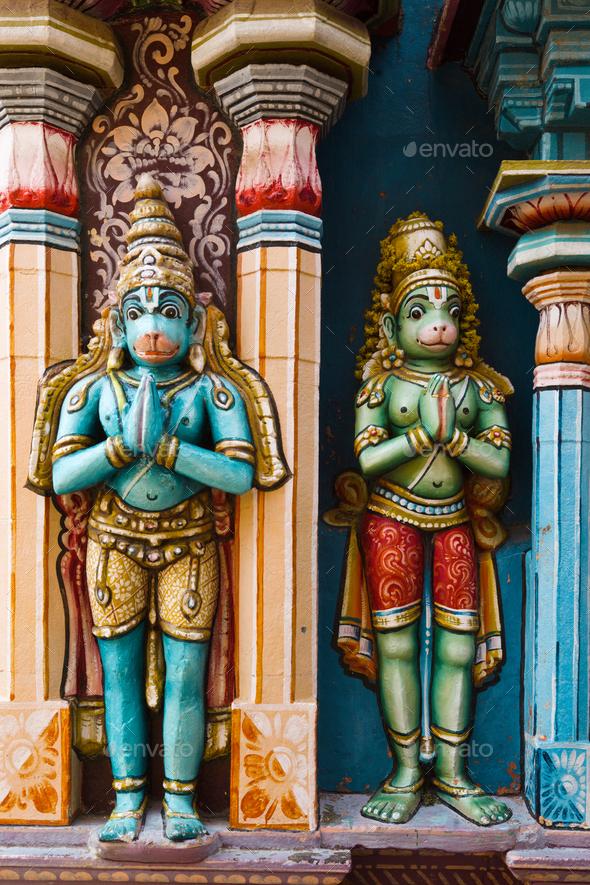 Hanuman statues in Hindu Temple. Sri Ranganathaswamy Temple. Tir - Stock Photo - Images