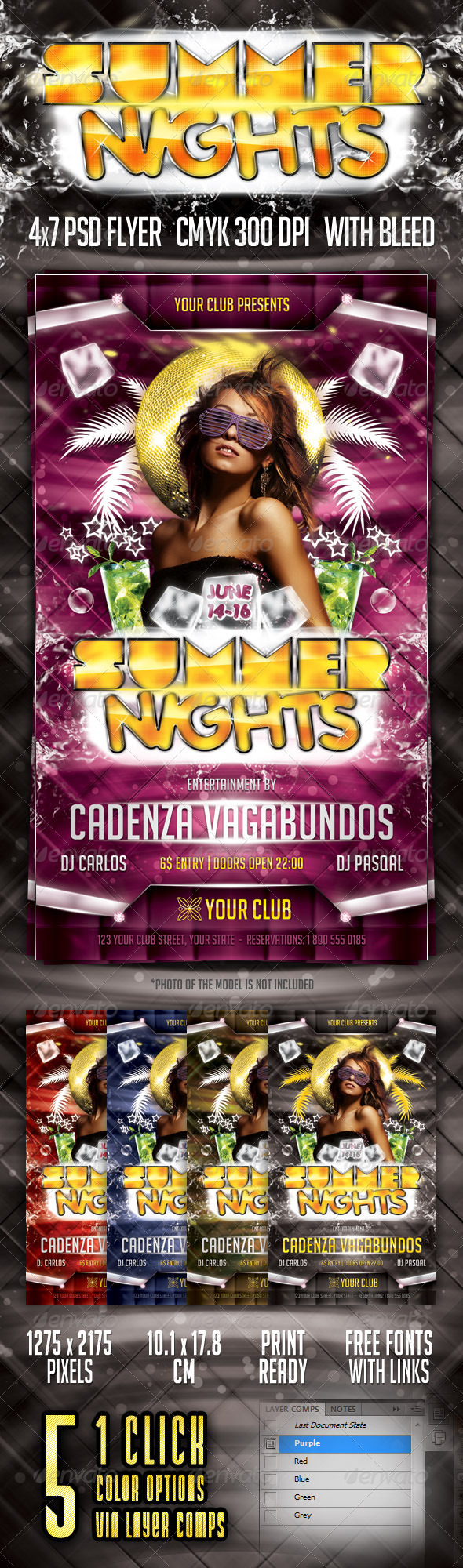 Summer Nights Flyer - Clubs & Parties Events