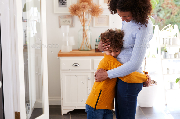 Loving Son Giving Mother Hug Indoors At Home - Stock Photo - Images