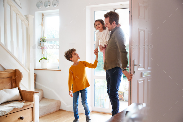 Single Father Returning Home After Trip Out With Excited Children Running Ahead - Stock Photo - Images