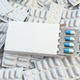 Blank white box for capsules on the pile of white blisters of pi - PhotoDune Item for Sale