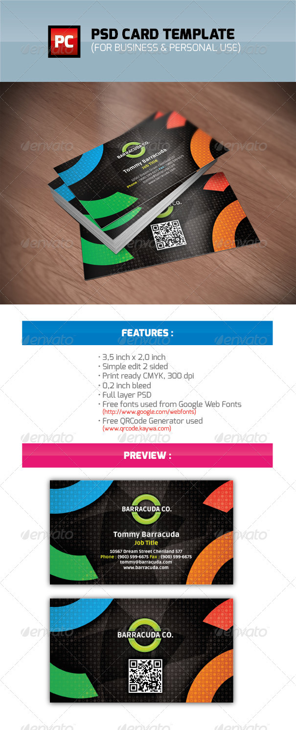 Color, PSD Business and Personal Card - Business Cards Print Templates