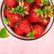 Strawberries in red bowl. Fresh strawberries. Beautiful strawberries.  - PhotoDune Item for Sale