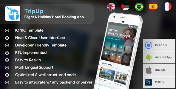 Flight & Holiday Hotel Booking Android + iOS App Template | HTML + Css IONIC 3 | TripUp
