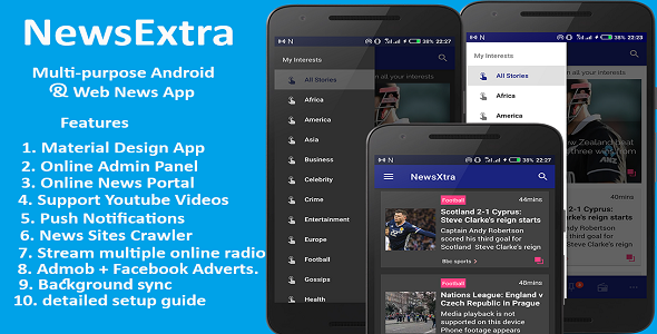 NewsExtra - Multi-purpose Android and Web News App.