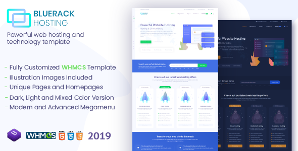Bluerack - Modern and Professional Hosting Template with WHMCS