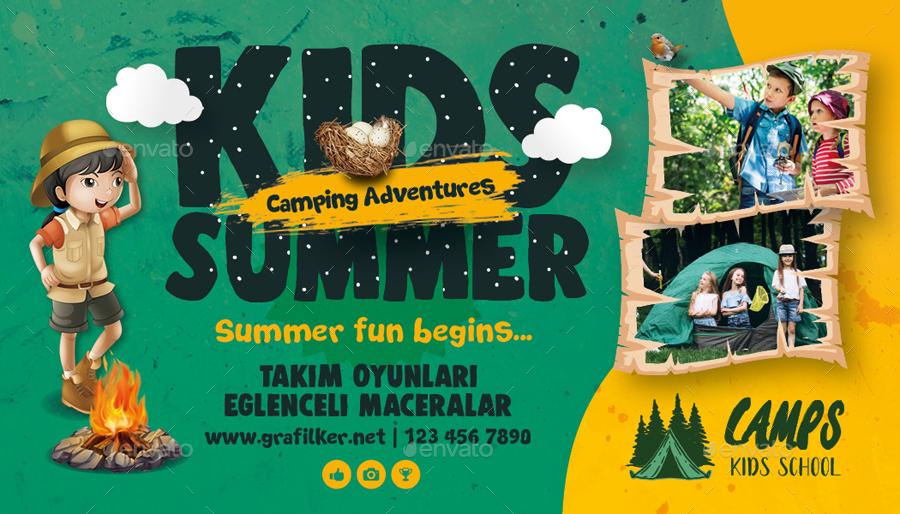 Kids Summer Camp Business Card Templates
