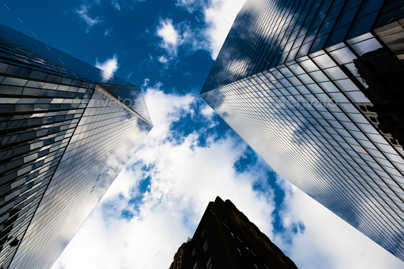 Looking up at Wall Street - Stock Photo - Images