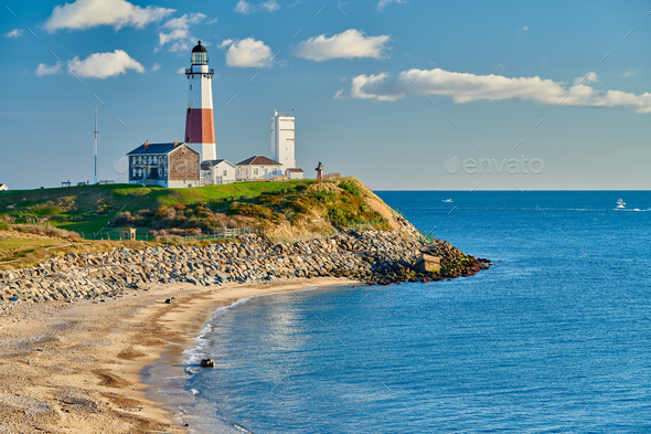 Montauk Lighthouse and beach - Stock Photo - Images