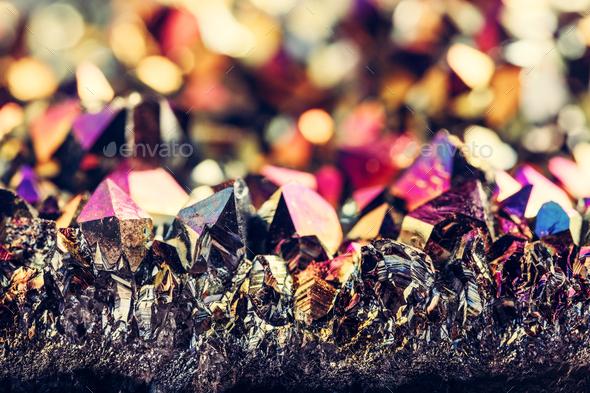 Mineral gemstone - rainbow aura crystal quartz. - Stock Photo - Images