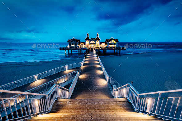 Sellin pier, Ruegen island, Germany at night - Stock Photo - Images