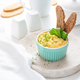 Scrambled eggs with chives and bread, white background - PhotoDune Item for Sale