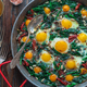 Close view of spinach and fried eggs - PhotoDune Item for Sale
