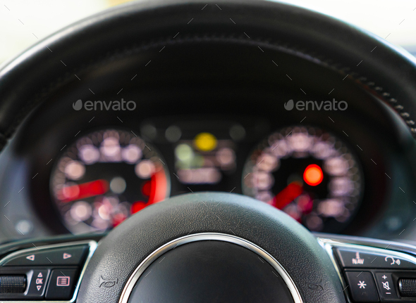 Close-up steering wheel of modern car - Stock Photo - Images