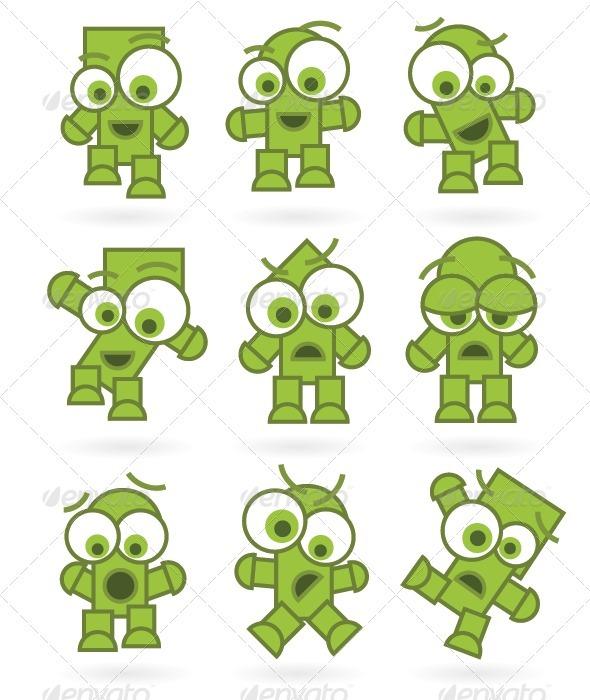 Funny Green Cartoons Characters Set - Characters Vectors