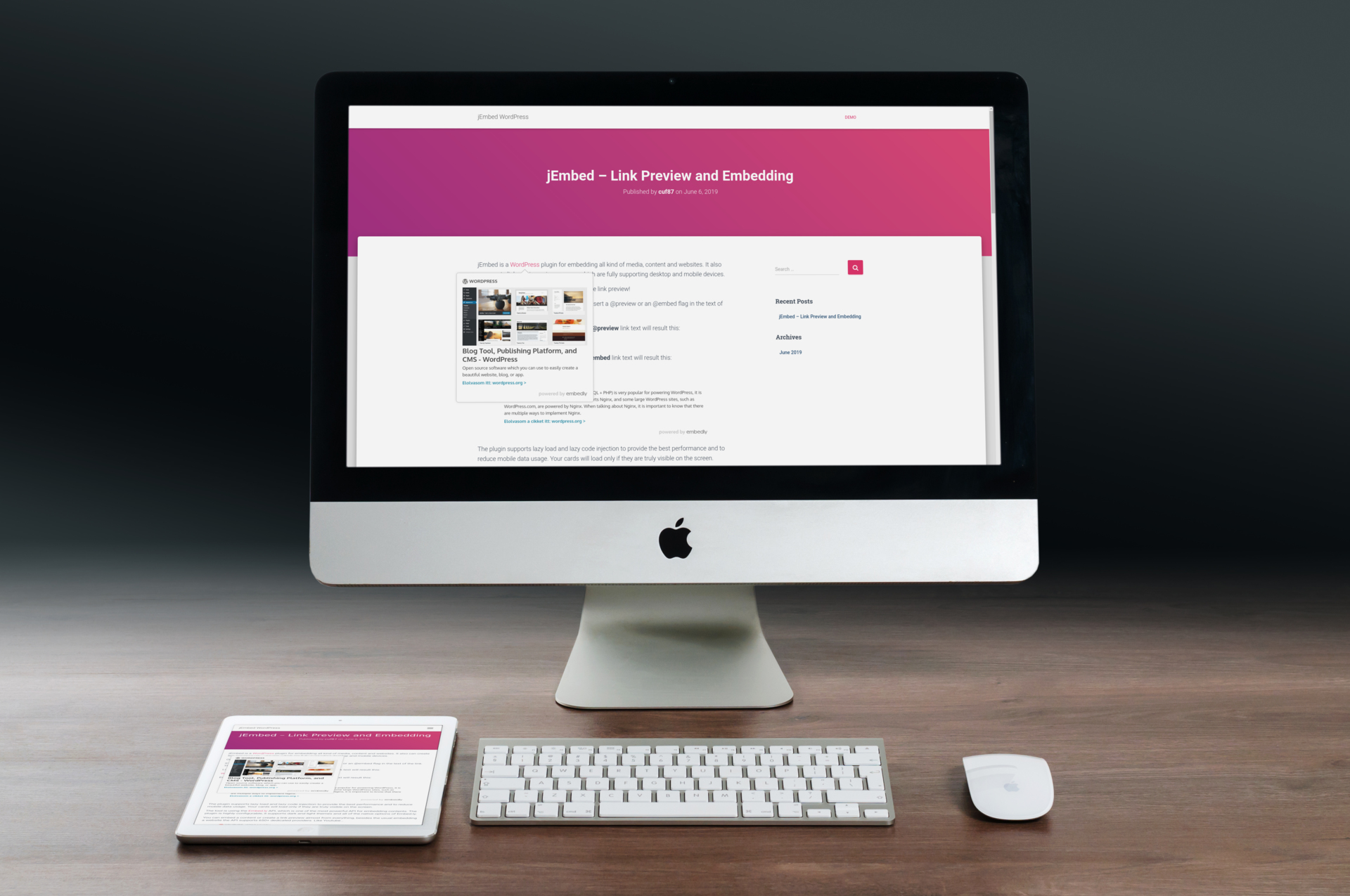 jEmbed WordPress - Link preview and embedding