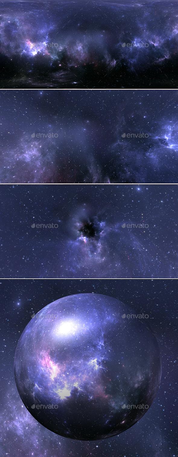 Stellar system and nebula. Panorama, environment 360 HDRI map. Equirectangular projection