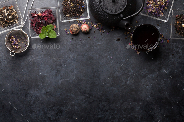 Set of herbal and fruit dry teas - Stock Photo - Images