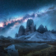 Milky Way over mountains at night in summer. Landscape - PhotoDune Item for Sale