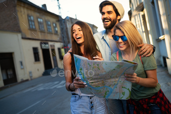 Group of smiling friends traveling. Friendship, travel, vacation, summer and people concept