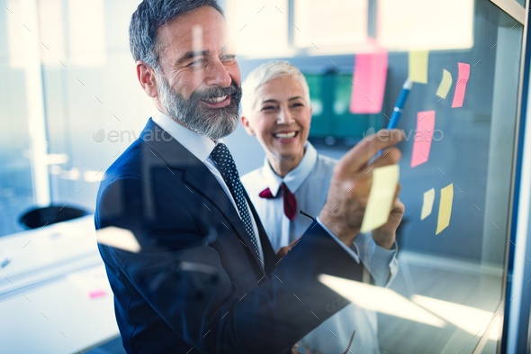Senior business accountants working together at modern office - Stock Photo - Images