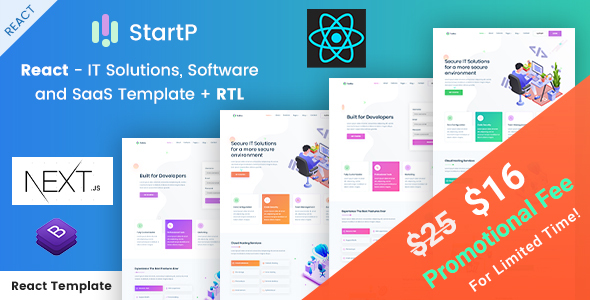 StartP - React Next IT Solutions, Software and SaaS Template + RTL Supported