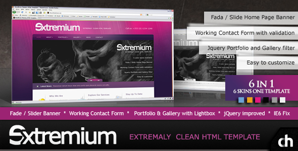 Free Download Extremium - 6 in 1 Extremely Clean HTML Template Nulled Latest Version