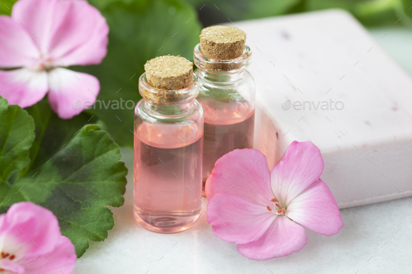 Plant Extract and Geranium Flowers - Stock Photo - Images