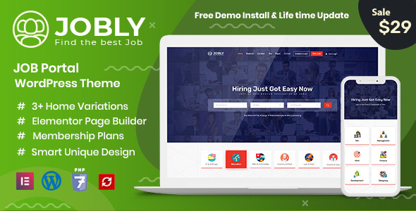 Download Jobly – Career Builder WordPress Theme Free Nulled