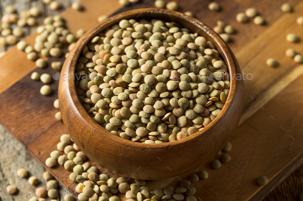 Dry Organic Green Lentils - Stock Photo - Images