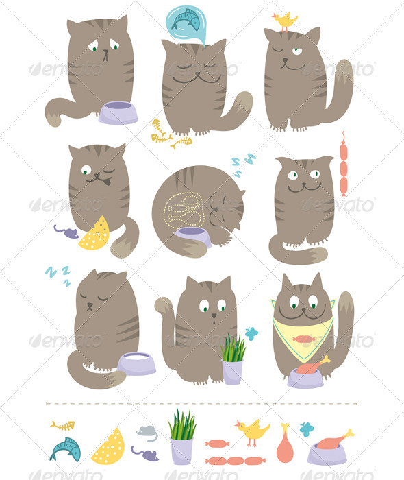 Cats With Foods - Animals Characters