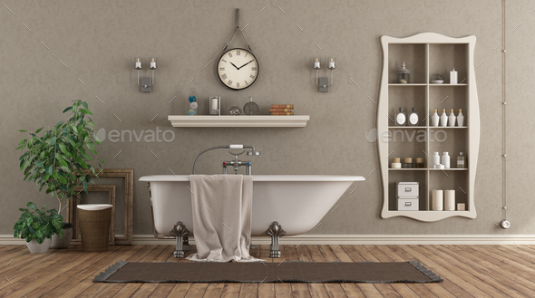 Classic bathroom with bathtub and niche with objects - Stock Photo - Images