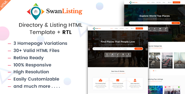Marvelous SwanListing - Directory and Listing HTML Template