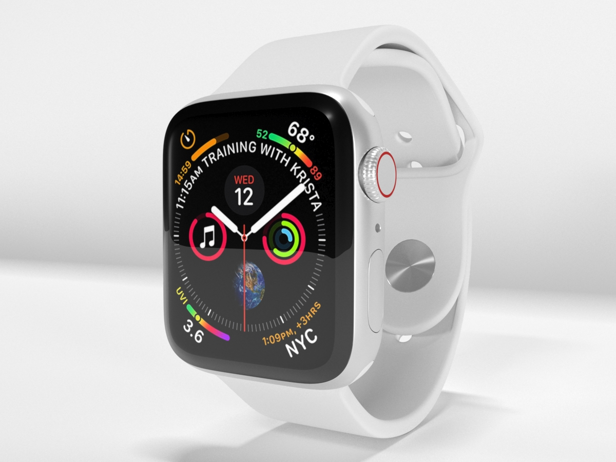 the latest 2f298 deedd Apple Watch Series 4 Silver Aluminum Case with White Sport Band