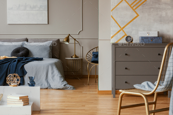 Excellent Trendy Bedroom Interior With Grey Commode And Golden Chair Machost Co Dining Chair Design Ideas Machostcouk