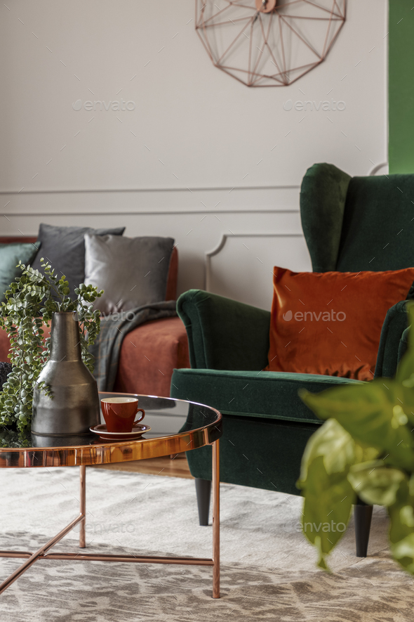 Stupendous Brown Velvet Corner Sofa And Emerald Green Wing Back Chair In Classy Living Room Caraccident5 Cool Chair Designs And Ideas Caraccident5Info