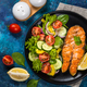 Grilled salmon fish steak with fresh vegetables salad - PhotoDune Item for Sale