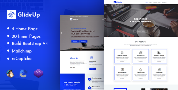 GlideUp - Creative Corporate Business Agency HTML Template