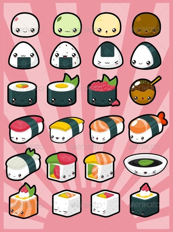 Kawaii Pack 3: Japanese Food - Characters Vectors