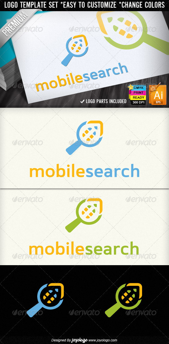 Cellular Phone Search Mobile Finder Logo Template - Symbols Logo Templates